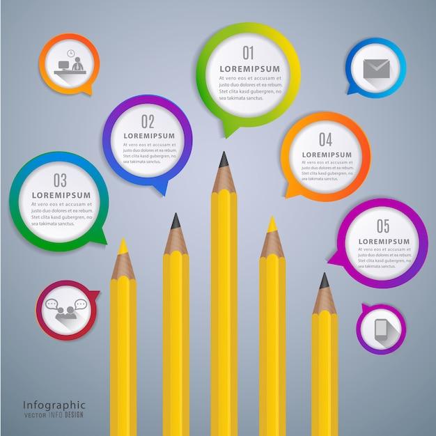 Crayon infographique pour l'éducation Vecteur Premium