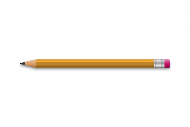 Crayon Scolaire Réaliste Avec Du Caoutchouc Vecteur Premium