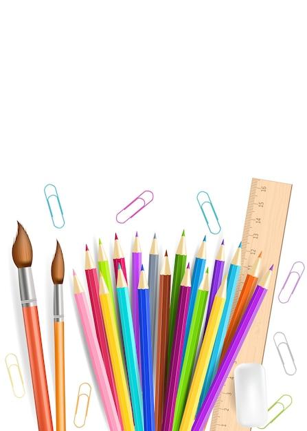 Crayons Arc-en-ciel Et Gomme Isolés Sur Fond Blanc. Vecteur Premium