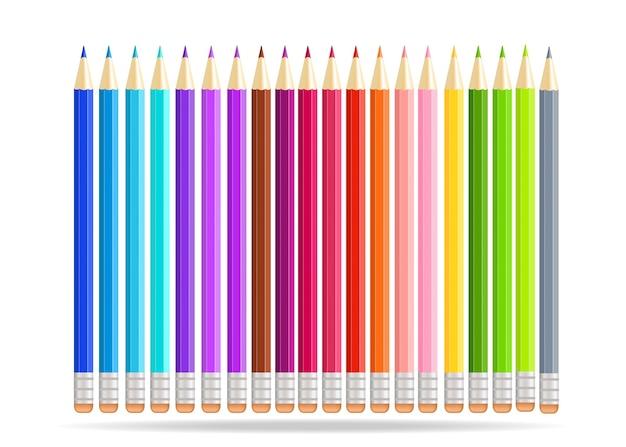 Crayons Arc-en-ciel Isolés Sur Fond Blanc. Vecteur Premium