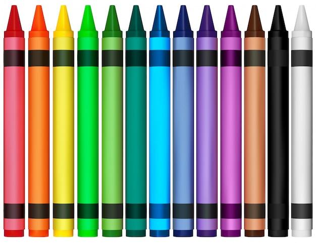 Crayons de cire colorés Vecteur Premium