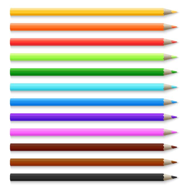 Crayons De Couleur En Bois 3d Réalistes Isolés Sur Illustration Vectorielle Blanche Vecteur Premium