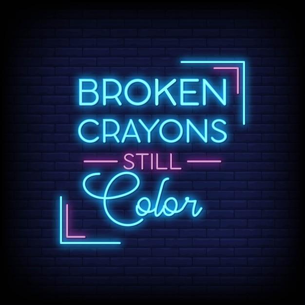 Crayons de couleur cassés encore couleur néon signes style texte vecteur Vecteur Premium