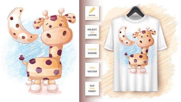 Crayons De Couleur Girafe - Affiche Et Merchandising Vecteur gratuit