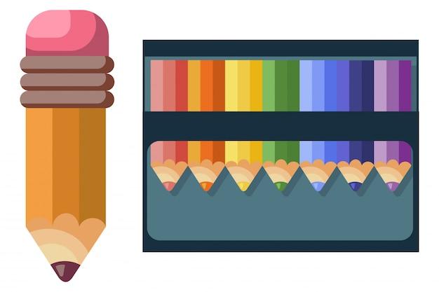 Crayons de couleur pour l'école et dessin sur fond blanc Vecteur Premium