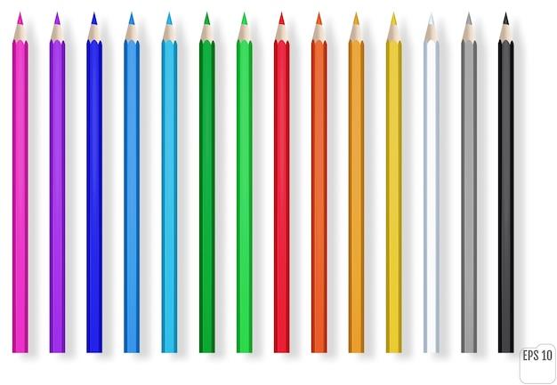 Crayons De Couleur Réalistes. Crayon En Bois Bleu, Vert, Rouge, Jaune Pour L'enseignement Scolaire. Vecteur Premium