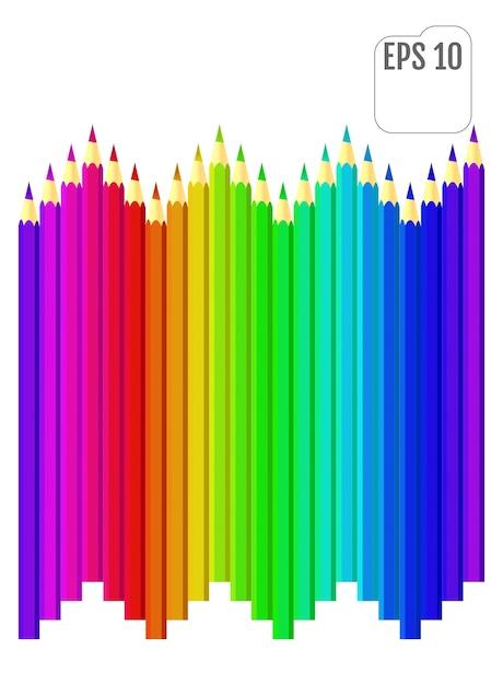 Crayons De Couleur Style Arc-en-ciel. Crayons Multicolores Dans Un Style Plat. Vecteur Premium