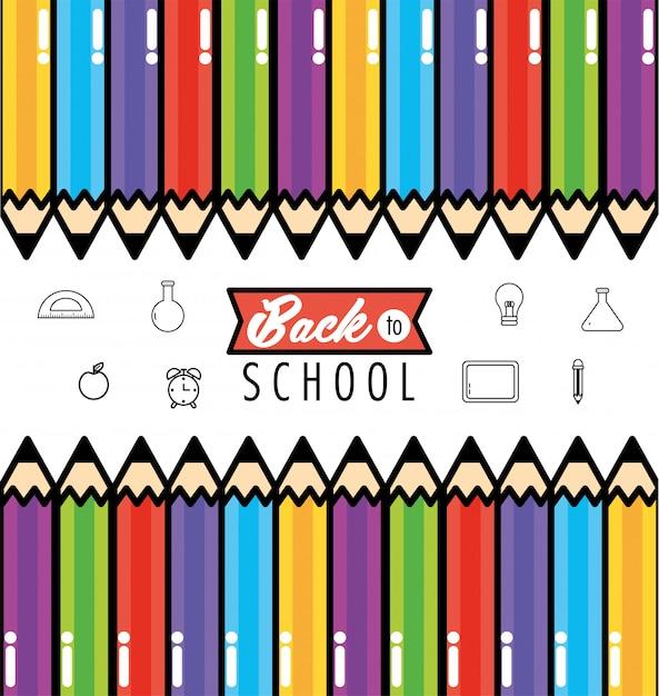 Crayons couleurs ustensiles pour soutenir le fond de l'école Vecteur Premium