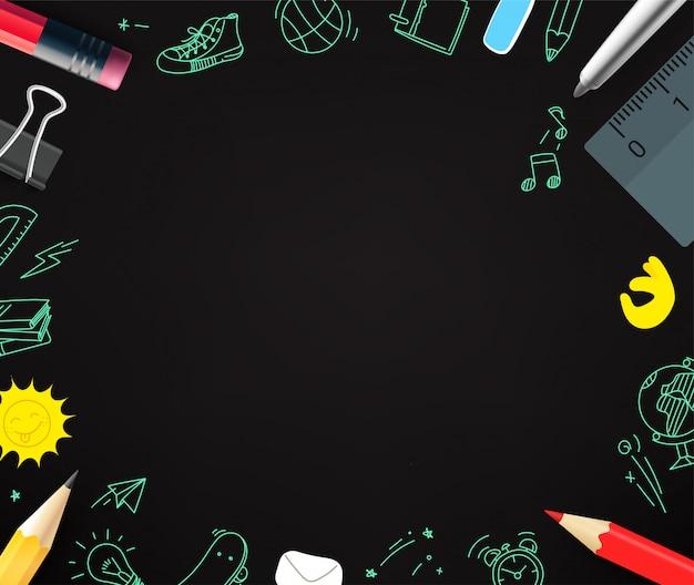 Crayons Et éléments De Griffonnage. Copier L'espace Pour Un Texte Vecteur Premium
