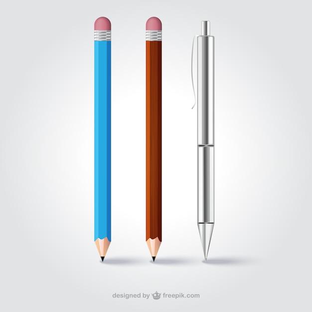 Crayons réalistes et un stylo Vecteur gratuit