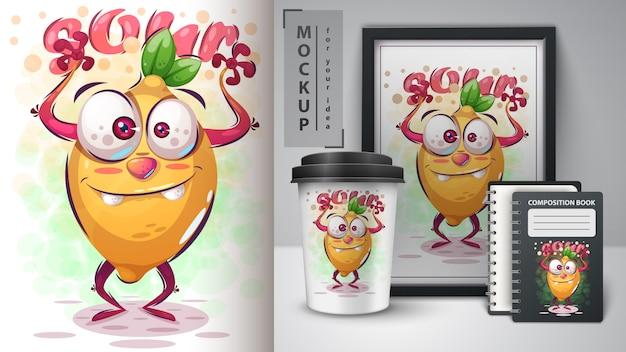 Crazy citron illustration et merchandising Vecteur Premium