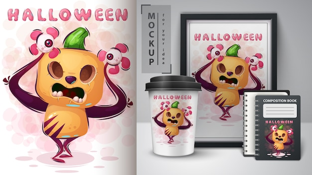 Crazy poster citrouille et merchandising Vecteur Premium