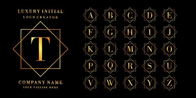 Créateur de logo: ensemble de lettres ou de logo initial, couleur dorée Vecteur Premium