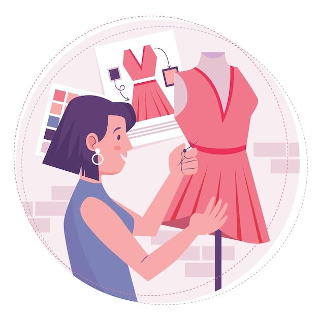 Créateur De Mode Femme Couture Une Robe Vecteur gratuit