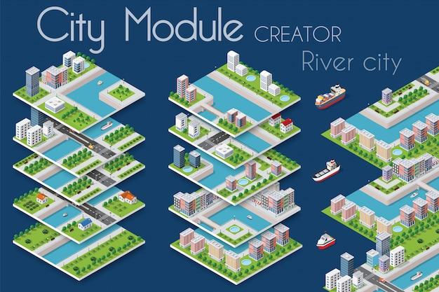Créateur de module de ville Vecteur Premium