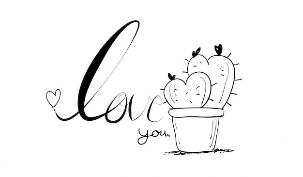 Créatif dessiné mains faites texte amour et cactus Vecteur Premium