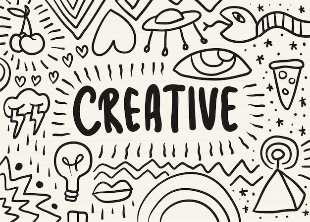 Créatif griffonné sur un bloc-notes Vecteur gratuit