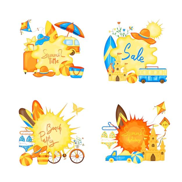 Création de bannière de vecteur de l'heure d'été pour le texte et les éléments de la plage colorée sur fond blanc. Vecteur Premium