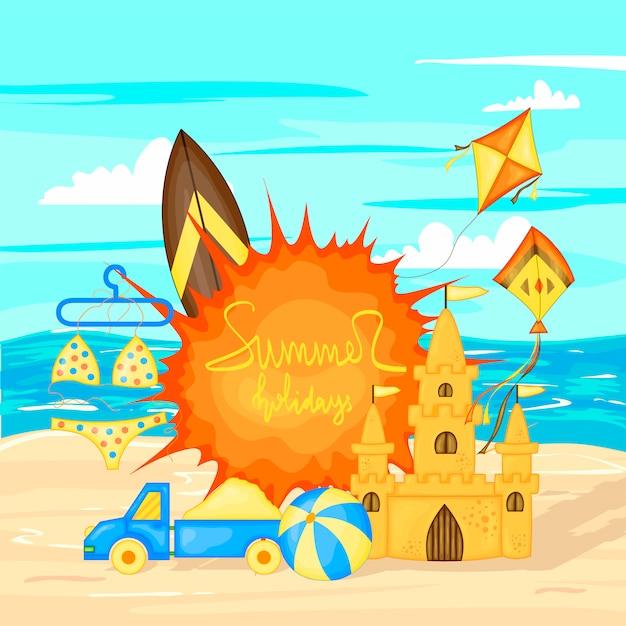Création de bannière de vecteur de l'heure d'été pour le texte et les éléments de plage colorée Vecteur Premium