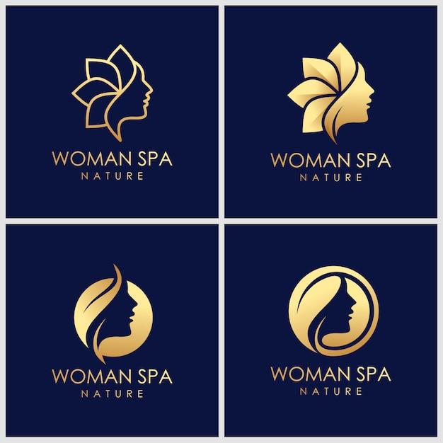 Création Créative De Logo De Soins De La Peau De Beauté Dorée. Concept De Logo De Thérapie Spa. Vecteur Premium
