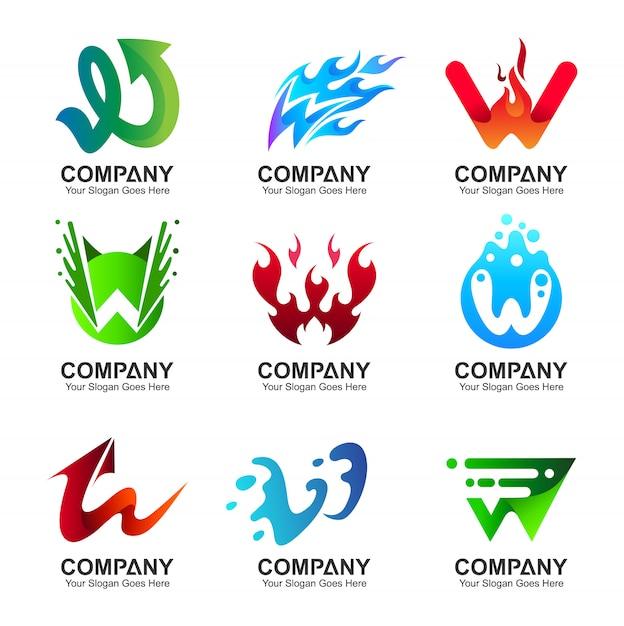 Création du logo de la lettre w initiale Vecteur Premium