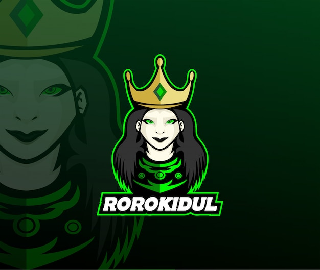 Création du logo queen mascot Vecteur Premium