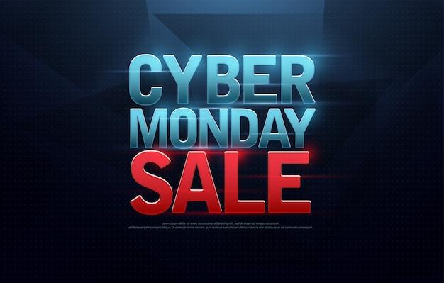Création du logo vente cyber lundi. achats numériques Vecteur Premium