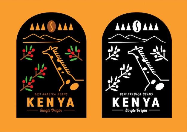 Création d'étiquettes de café au kenya Vecteur Premium