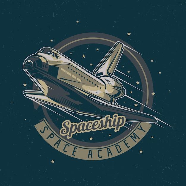 Création D'étiquettes De T-shirt Thème De L'espace Avec Illustration Du Vaisseau Spatial Vecteur gratuit