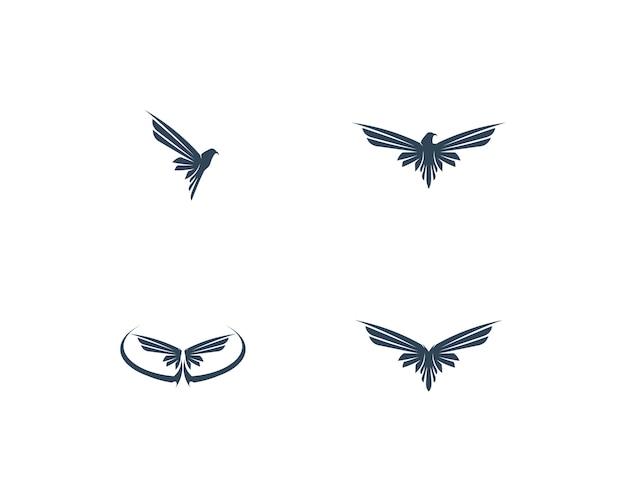 Création d'icône de vecteur falcon wing logo template Vecteur Premium