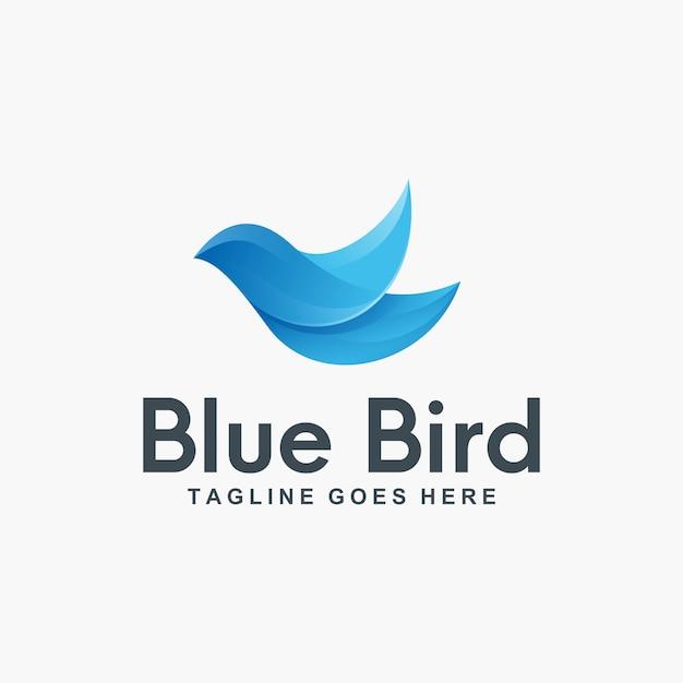 Création de logo 3d blue bird Vecteur Premium