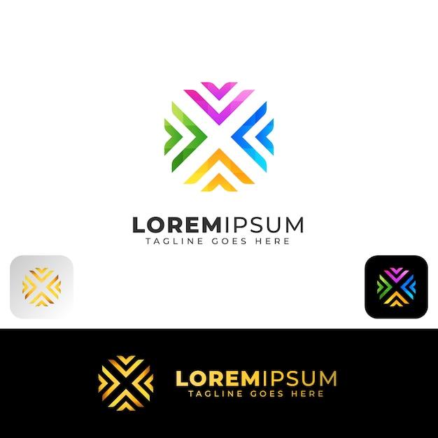 Création De Logo Abstrait Coloré Lettre X Vecteur Premium