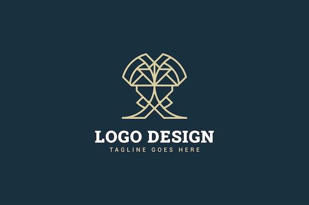 Création De Logo Abstrait Avec La Forme De La Lettre X Dans Le Concept De Style De Ligne Pour Votre Identité D'entreprise Vecteur Premium