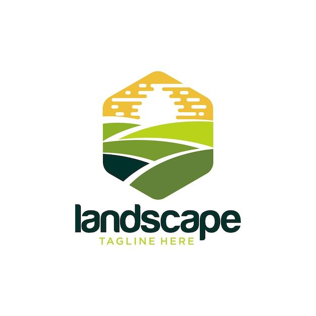 Création de logo d'aménagement paysager Vecteur Premium