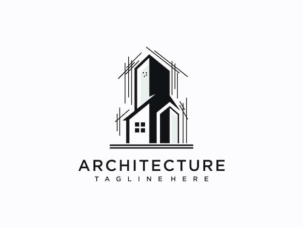 Création De Logo D'architecture, De Construction, De Maison Et De Propriété Vecteur Premium