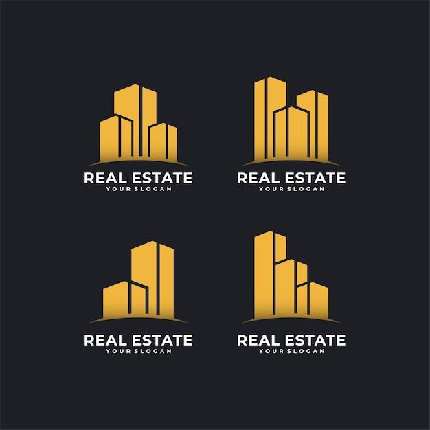 Création De Logo D'architecture Dans Le Style D'art En Ligne Vecteur Premium