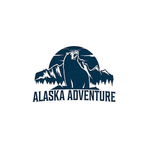 Création de logo d'aventure en alaska Vecteur Premium