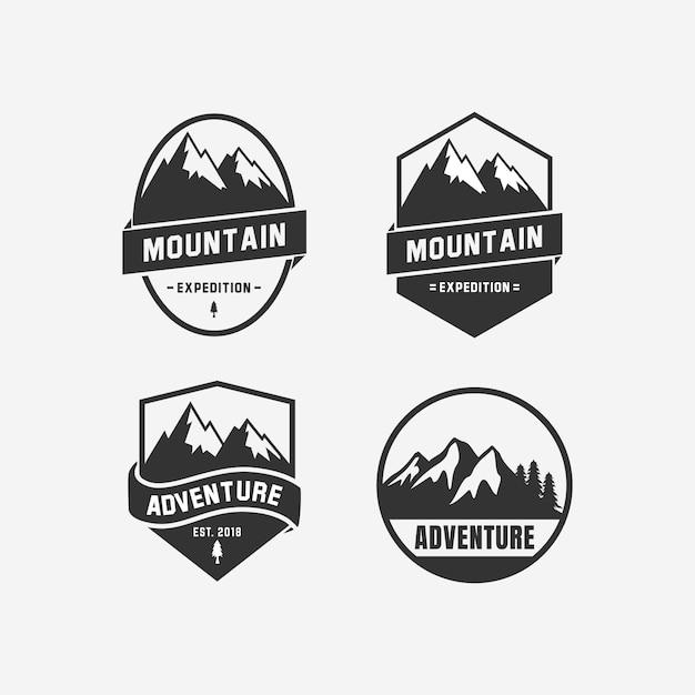 Création de logo d'aventure. icône du design logo montagne Vecteur Premium