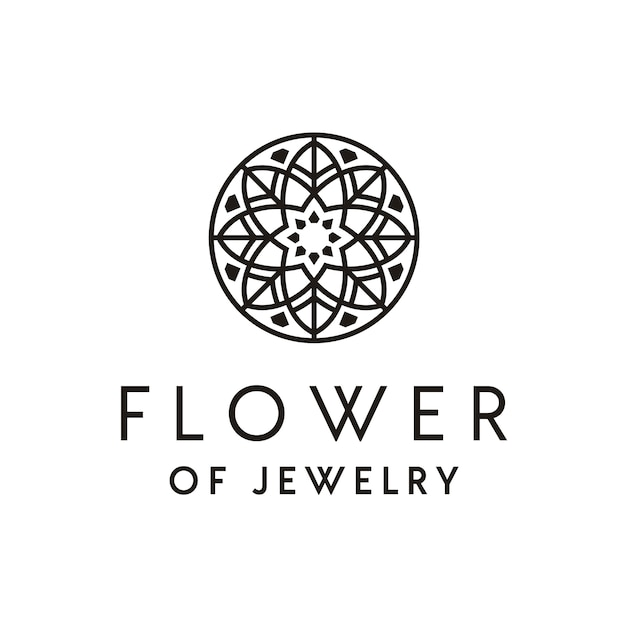 Création de logo de beaux bijoux de luxe artistique avec ornement de fleurs Vecteur Premium