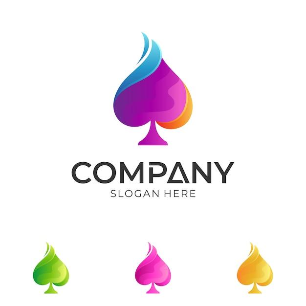 Création de logo bêche coloré Vecteur Premium