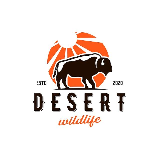 Création De Logo Bison Desert Sun Vecteur Premium