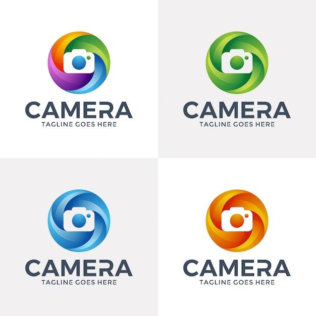 Création de logo de caméra de cercle dans le style 3d. Vecteur Premium