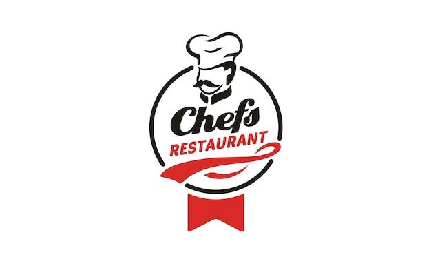 Création de logo de chef / restaurant Vecteur Premium