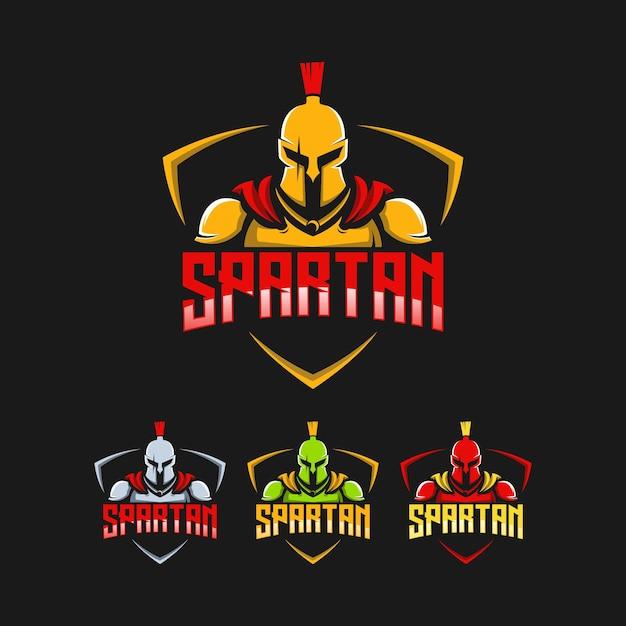 Création de logo collection spartiate Vecteur Premium