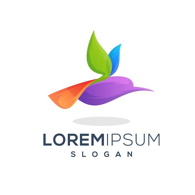 Création de logo coloré oiseau volant Vecteur Premium