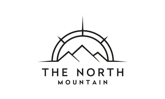 Création de logo compass et mountain for travel / adventure Vecteur Premium