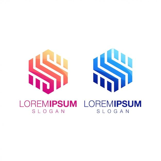 Création de logo couleur dégradé hexagonale inspiration Vecteur Premium