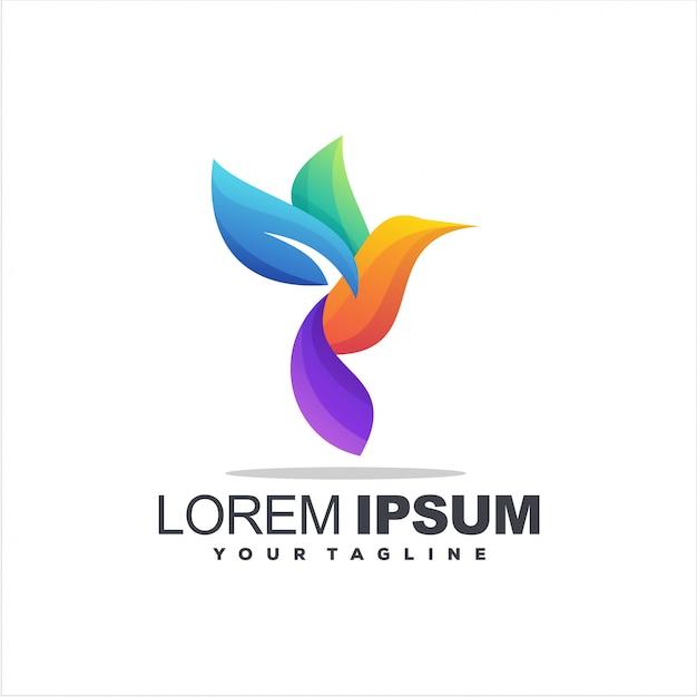 Création De Logo Couleur Dégradé Oiseau Vecteur Premium