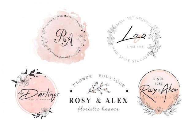 Création de logo de couronne de feuilles dessinée à la main Vecteur Premium