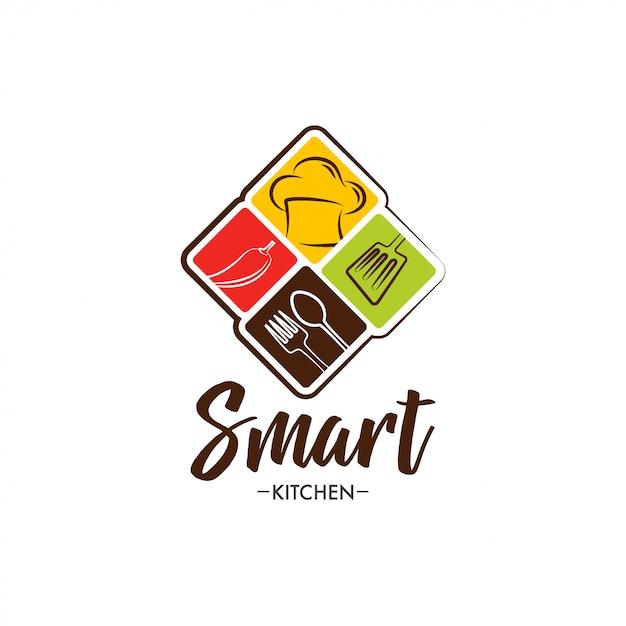 Création de logo de cuisine intelligente Vecteur Premium